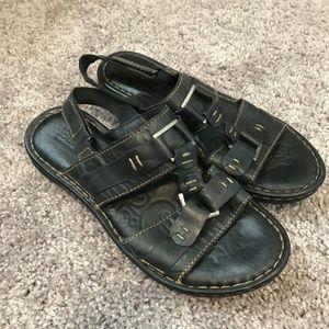 Born Strappy Buckle Black Sandals
